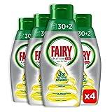 Fairy Platinum Gel Detersivo 30+2 lavaggi per Lavastoviglie, Limone, 100% Dissoluzione e Una Pulizia Eccezionale