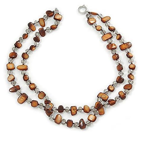 Deux rangées Marron Coque Pépite Perle et Cristal en verre transparent–Collier Femme–44cm L