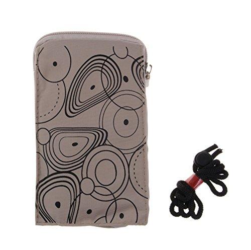 KISS GOLD (TM) Universel Pochette Case Housse Étui Sac Téléphone Portable avec Mousqueton&Cordon en Nylon