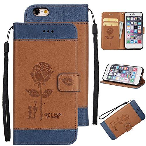 Ecoway Para Apple iPhone 6/6SAmantes de Rosa(4.7 Zoll) Funda, Amantes de Rosa(Marrón) PU Leather Cubierta , Función de Soporte Billetera con Tapa para Tarjetas Soporte para Teléfono
