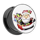Piercingfaktor Ohr Plug Flesh Tunnel Piercing Ohrpiercing Kunststoff Schraub Schraubverschluß mit Picture Motiv Weihnachtsmann mit Geschenken 12mm