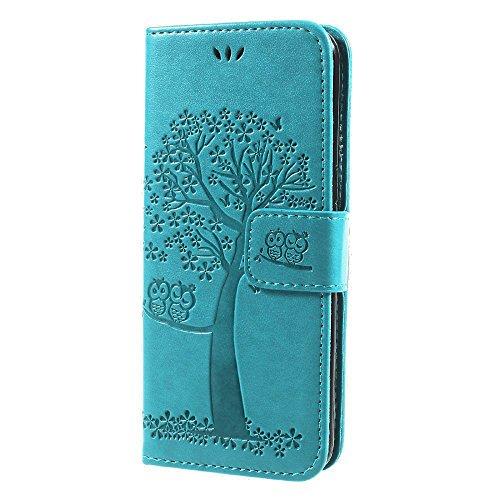 jbTec® Flip Case Handy-Hülle Book #M58 Baum zu Samsung Galaxy S8 - Handy-Tasche Schutz-Hülle Cover Handyhülle Bookstyle Booklet Handschlaufe, Farbe:Türkis, Modell:Galaxy S8 / Duos/SM-G950