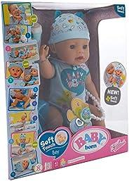 Zapf Creation 824375 Baby born Soft Touch Boy Brown Eyes lalka z funkcją realistycznego wyglądu i wieloma akce