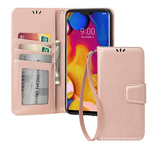 Shemax for LG V40 ThinQ Case,for LG V40 Cover, Flip Kickstand Case mit Card Slots Flexible TPU Cover Protection Enhanced Case for LG V40 ThinQ/LG V40(Roségold)