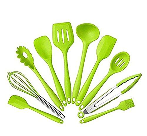 Longlove Silikon Küchenhelfer Set von 10 Stücke - Premium Silikon Küchen Utensilien Set - Grillzange, Schneebesen, Silikonpinsel, Teigschaber, Schaumlöffel, Löffel Nudeln, Kelle, Suppenlöffel - Hitzebeständiges Koch- und Backzubehör (Grün) (10 Stück Grün Kochgeschirr-set)