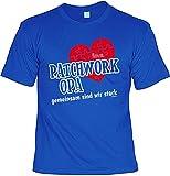 T-Shirt - Patchwork Opa - Gemeinsam sind wir stark Royal - bedrucktes Motiv Shirt Geschenk Großvater Weihnachten inkl. Schürze Merry Christmas