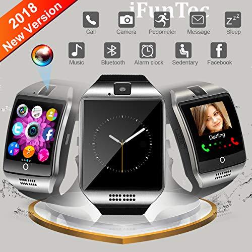 Bluetooth Smartwatch, Bluetooth Uhr Intelligente mit Kamera Touchscreen Telefon mit SIM Kartenslot Smart Armband Uhren Fitness Tracker Armbanduhr Kompatible für Android Samsung Huawei Smartphone
