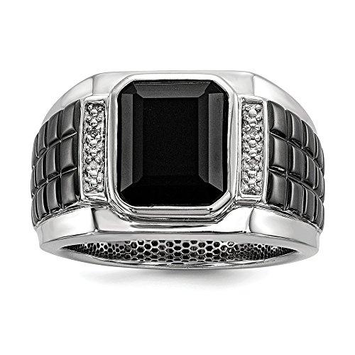 Herren-Ring 14 Karat (585) Weißgold mit schwarzem Onyx und rundem Diamant Größe 9