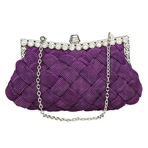 Sicai Womens Evening Clutch Bags Wedding Bridal Braided Rhinestone Purse Handbag Purple