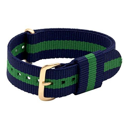 20mm Uhrenarmband NATO Arm-Band Nylon für Damen-Uhren Herren-Uhren | Ersatzarmband | Uhrband DW kompatibel | gold blau-grün (Gestreiften Grün Stoff)