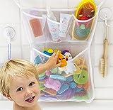 Organizador de Juguetes de Baño, Red de Malla Bolsa de Almacenamiento con Dos Ventosa para Bebés y Niños, Blanco