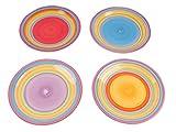 Druline Kombiservice Geschirrset Tafel-Service Porzellan Geschirr Set Tasse Teller BUNT Speiseteller 4er-Set (1 x jede Farbe)