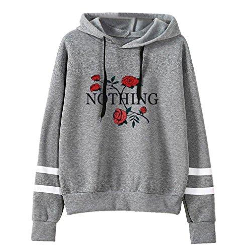 Holeider Mädchen Langarm Shirts Pullover Womens Long Sleeve Hoodie Sweatshirt Kapuzenpulli Tops Bluse Hemd T-shirt (S, Grau) (Double-layer-v-ausschnitt-pullover)
