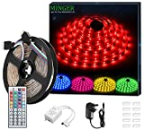 LED Strip Light MINGER 16.4ft(5m)RGB SMD 5050 LED Rope Lighting Color Changing Full Kit with 44-keys IR Remote Controller & 2A Power Supply LED Lighting Strips for Home Lighting Kitchen Christmas Indoor Decoration