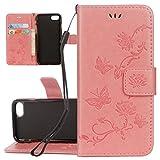 ISAKEN Custodia Cover Compatibile con iPhone 5 5S SE, Flip Cover con Strap, Sbalzato PU Pelle Protettiva Portafoglio Case Cover con Supporto di Stand/Carte Slot/Chiusura Magnetica - Lotu: Rosa