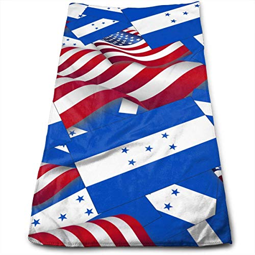 DAICHAI Honduras Flag with America Flag Face Hand Towels Microfiber Sport Towels for Sports, Hair Care, Cosmetology, Cleaning 27.5 X 12 Inch.