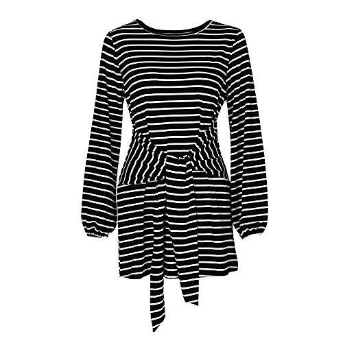 FIRSS Frauen Streifen Strandkleid | Taillenband Minikleid | Trompetenärmel Knielangkleid |...