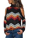 YOINS Sexy Schulterfrei Oberteil Damen Shirt Off Shoulder Top Pullover Damen Rollkragen Langarm Gestreift Pulli Lose Tshirt Hemd Schwarz EU44