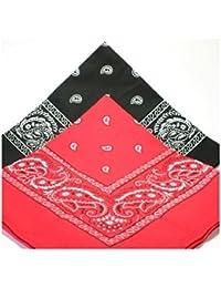 Lot de 2 x Bandana 1Rouge et 1Noir style Paisley Cachemire Rouge 100%coton 56 cm x 56 cm
