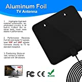 TV Aerial, Freeview Indoor TV Aerial, 60+ Miles Range Aluminum Foil Amplified Indoor Aerials with 1080P VHF/UHF/FM Stronger Reception, Detachable Amplifier Booster and 10FT High Performance Coax Cable