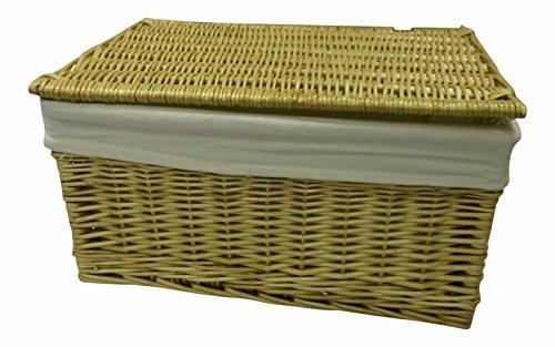 Generic * * cker Storag Storage Brust Wicker Info Deckel Korb Truhe Li behindern Betten Box Crafts gefüttert Schinken Weidenholz gefüttert Crafts gefüttert (Große Wicker Storage Körbe)
