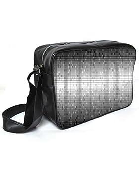 Snoogg grau Blöcke Fliesen Leder Unisex Messenger Bag für College Schule täglichen Gebrauch Tasche Material PU
