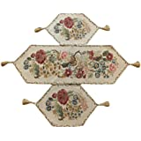 Tache 3 Piece Floral Tapestry Country Rustic Morning Meadow Table Runner Set by Tache Home Fashion