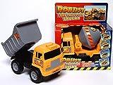Lot 2(= 2pièces) robuste construction véhicules avec volant Camion-benne Entraînement, par un et un mélangeur à béton, Taille Plus 18cm x 14cm x 12cm, pas besoin de piles, idéal pour le bac à sable et maison et chambre d'enfant–En plastique robuste, tatsächlich einiges aushält