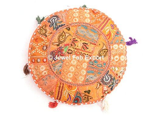 indischen Vintage Banjara Multi Farbe Euro Sham Vintage Handarbeit Kopfkissen Kissenbezug Werfen Ethnische Boden Kissen Boho sortiert Patchwork Gypsy Spiegel Arbeit bestickt rund Kissenbezug