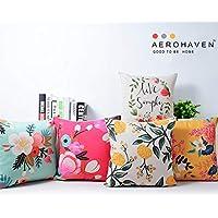 AEROHAVEN Cotton Decorative Throw Pillow/Cushion Covers (12 x 12 inch, Multicolour) - Set of 5
