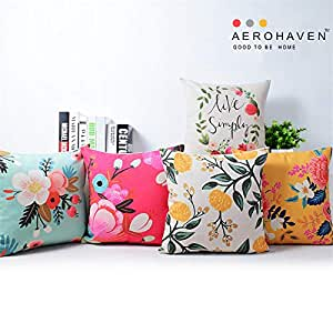 AEROHAVEN Cotton Decorative Throw Pillow/Cushion Covers (12 x 12 inch, Multicolour) - Set of 5