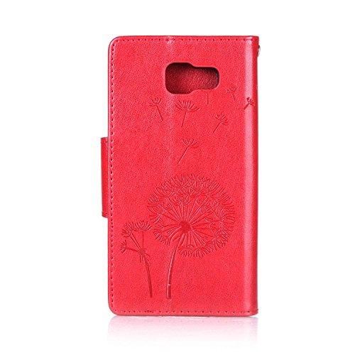 Custodia Samsung Galaxy A5 2016, ISAKEN Samsung Galaxy A5 Cover con Strap, Elegante borsa Farfalla Design in Pelle Sintetica Ecopelle PU Case Cover Protettiva Flip Portafoglio Case Cover Protezione Ca Dente di leone : rossa