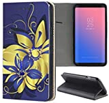 Samsung Galaxy S6 Hülle Premium Smart Einseitig Flipcover Hülle Samsung S6 Flip Case Handyhülle Samsung S6 Motiv (241 Blumen Gold Blau)