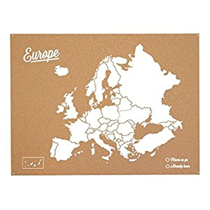 Miss Wood Woody Map L – Mapa del mundo de corcho con diseño Europa , color blanco