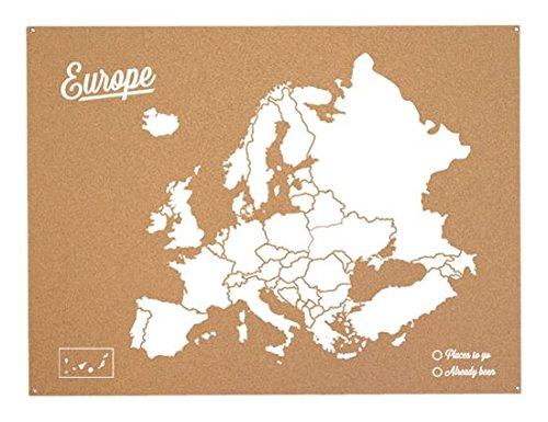 Miss Wood Woody Map L - Mapa del mundo de corcho con diseño Europa , color blanco