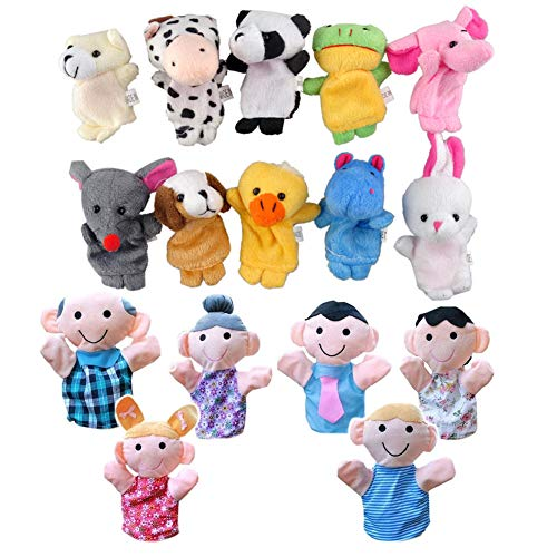 Marionetas de Dedo, 16 pcs Familiares Animal marioneta de dedo juguete Animal...