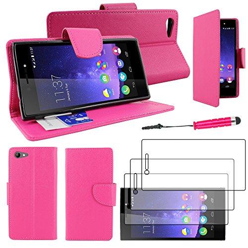ebestStar - Wiko Highway Star 4G Hülle Kunstleder Wallet Case Handyhülle [PU Leder], Kartenfächern, Standfunktion + Mini Stift +3 Schutzfolies, Pink [Phone: 141 x 71.4 x 6.6mm, 5.0'']