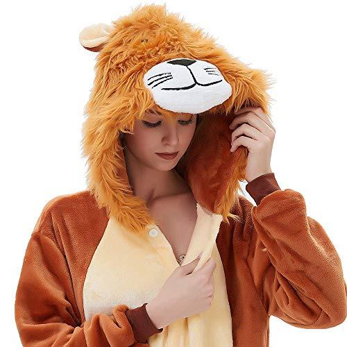 ABYED® Kostüm Jumpsuit Onesie Tier Fasching Karneval Halloween kostüm Erwachsene Unisex Cosplay (Kuschelige Löwen Mädchen Kostüm)