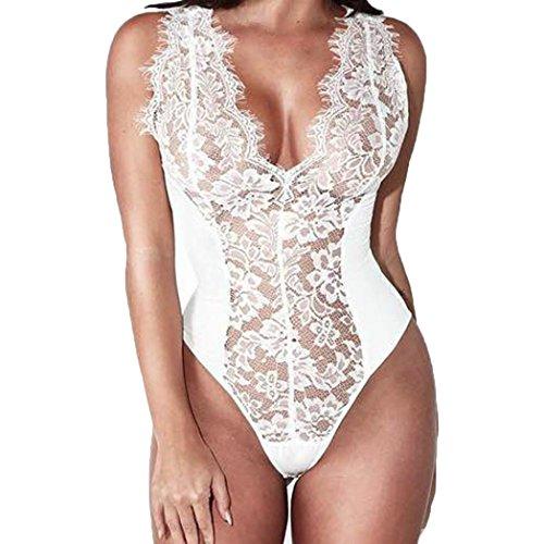 3739e29d629c9a Hmeng Lingerie - Salto de cama - para mujer Blanco blanco