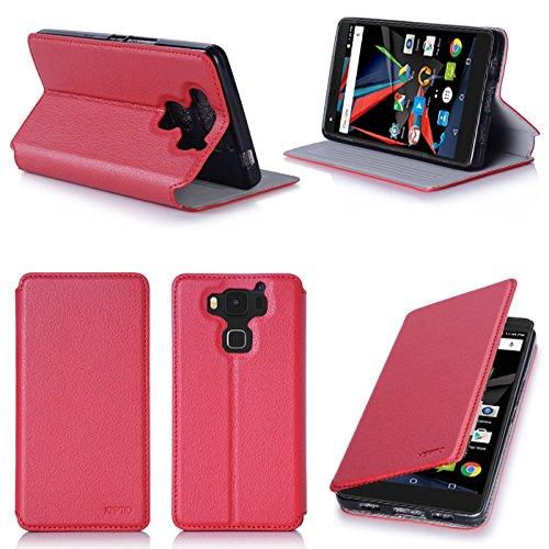 XEPTIO Ultra Slim Tasche Leder Style Archos Diamond 2 Plus 4G Hülle rot Cover mit Stand - Zubehör Etui Diamond 2+ Flip Case Schutzhülle (PU Leder, Red) Accessoires