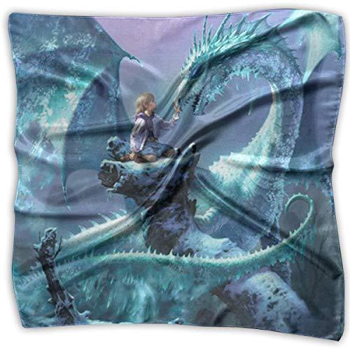 Square Satin Scarf Blue Dragon Silk Like Lightweight Bandanas Head Wrap Neck Shawl Headscarf -