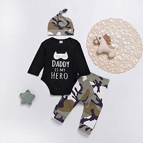 Body schwarz mit Mütze und 'Hose in Tarnfrabe für Baby ab 6 bis 12 Monat, Baby Boy Kleidung Brief Cartoon Strampler Tops + Camo Hosen neugeborene kleidung baby