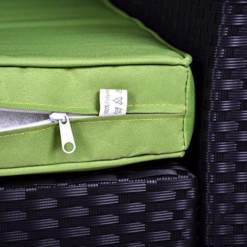 Rattan Set 4tlg mit Glastisch grün Garnitur Gartenmöbel Sitzgruppe Poly Rattan inklusive höhenverstellbare Füße und Sicherheitsglas 4-sitzer 4-teilig - 6