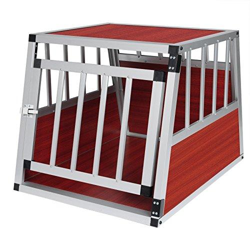 Hundebox Hundetransportbox Aluminium Transportbox Alubox Hund 1 Türig Reisebox Gitterbox Dunkles Holzdekor HT2060dc
