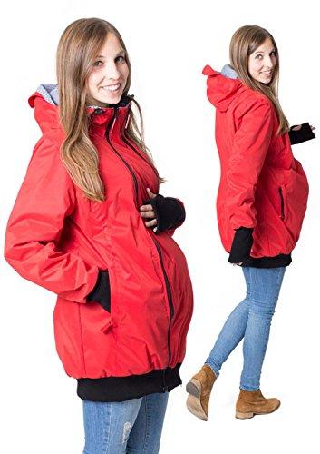 GoFuture Damen Tragejacke für Mama und Baby 4in1 Känguru Jacke Umstandsjacke aus Concordia Shell und Fleece LOVEWINGS GF2070 Rot mit blauem Karo