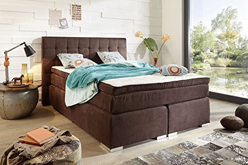 Stella Trading Idaho 2 Boxspringbett 180x200 cm, Stoff, Dunkelbraun, 212 x 200 x 113 cm