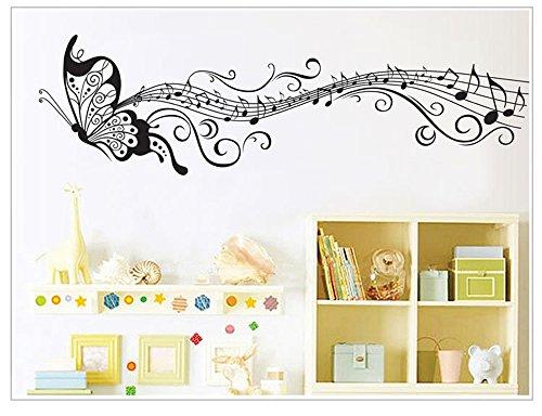 Braun Schmetterling Wand-dekor 3d (Snatchcz Kinder Vinyl Kunst Schwarz Schmetterling Musik Wandaufkleber Dekor Home Aufkleber, 35 Cm * 125 Cm)