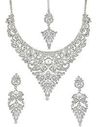 Touchstone Stylish Silver Austrian Diamonds Necklace Set With Maang Tika For Women