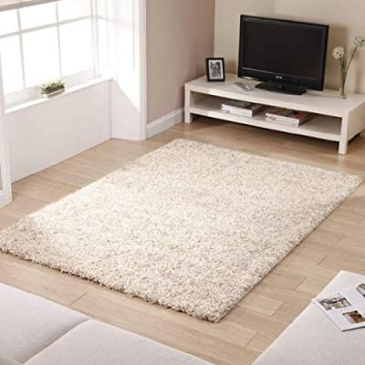 "Shaggy Rug Ivory 963 Plain 5cm Thick Soft Pile 120cm x 170cm (4ft x 5ft 6"") Modern 100% Berclon Twist Fibre Non-Shed Polyproylene Heat Set - AVAILABLE IN 6 SIZES by Quality Linen and Towels"