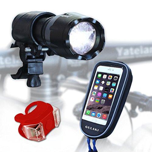 Set de luz LED para bicicleta, bicicleta, libre bicicleta soporte para teléfono y luz trasera para carretera, Racing y montaña bicicletas–mejores y más brillantes–delantera y trasera luces de bicicleta impermeable 100% garantía de sustitución